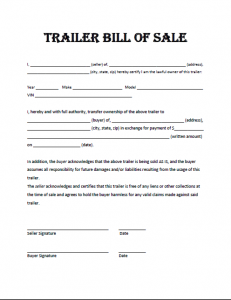 trailer bill of sale template business
