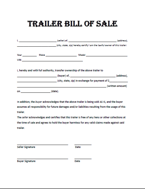 blank bill of sale for trailer