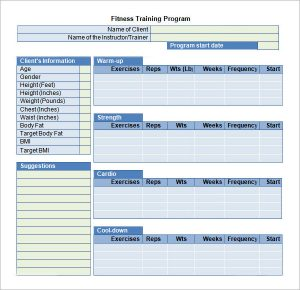 training plan template fitness training program template