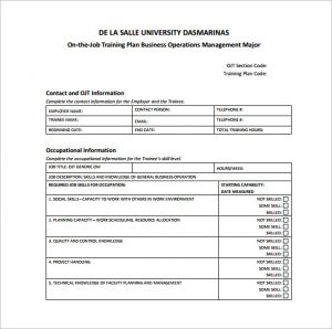 training plan template ojt training plan sample pdf template free download
