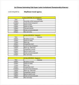 travel itinerary examples travel agency itinerary