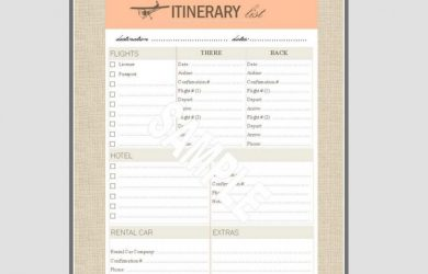 travel itinerary examples vintage itineary list x