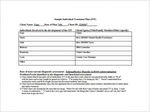 treatment plan template individual treatment plan pdf template free download
