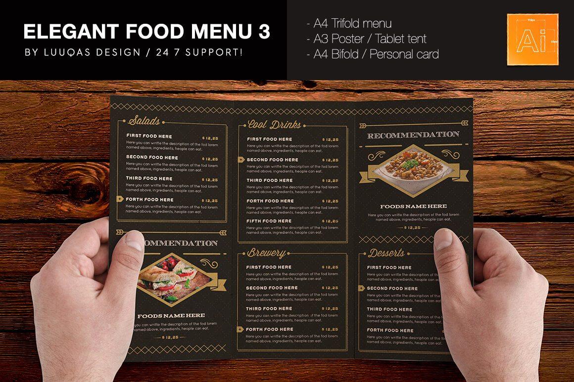 tri fold menu template template business