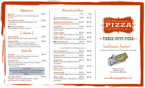 tri fold menu three guys pizza tri fold menu