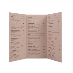 tri fold menu tri fold waterproof menu