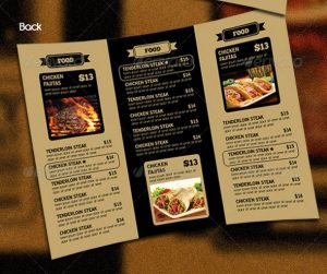 tri fold menu trifold restaurant menu vin