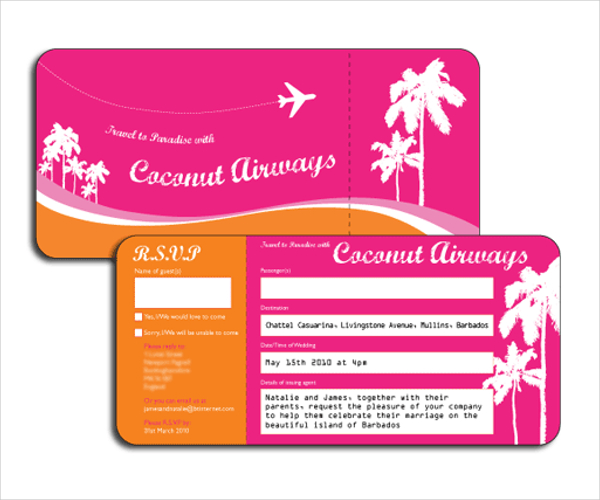 Tri Fold Wedding Invitations Template Business - Wedding invitation templates: boarding pass wedding invitation template