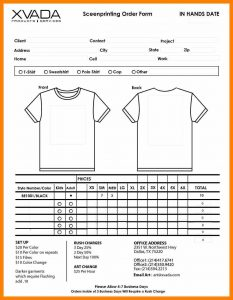tshirt order form template t shirt order form template