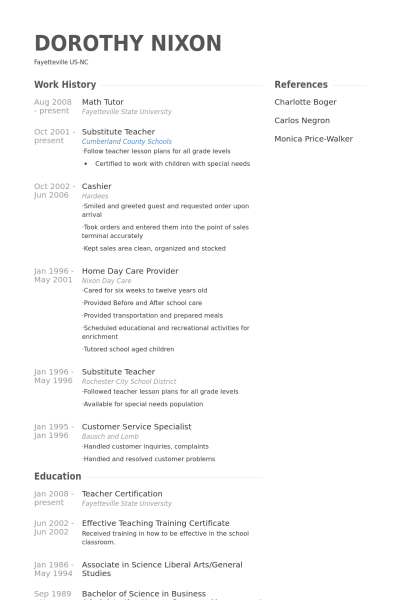 tutor resume sample