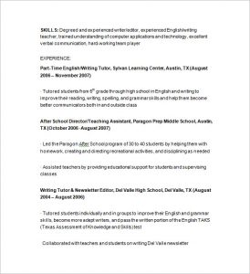 tutor resume sample part time tutor resume sample
