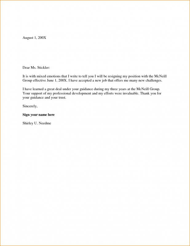 Two Week Notice Letter  Template Business