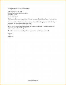 two week notice letter template how to write a week notice for work
