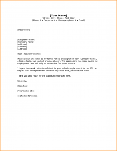 two week notice letters weeks notice sample letters