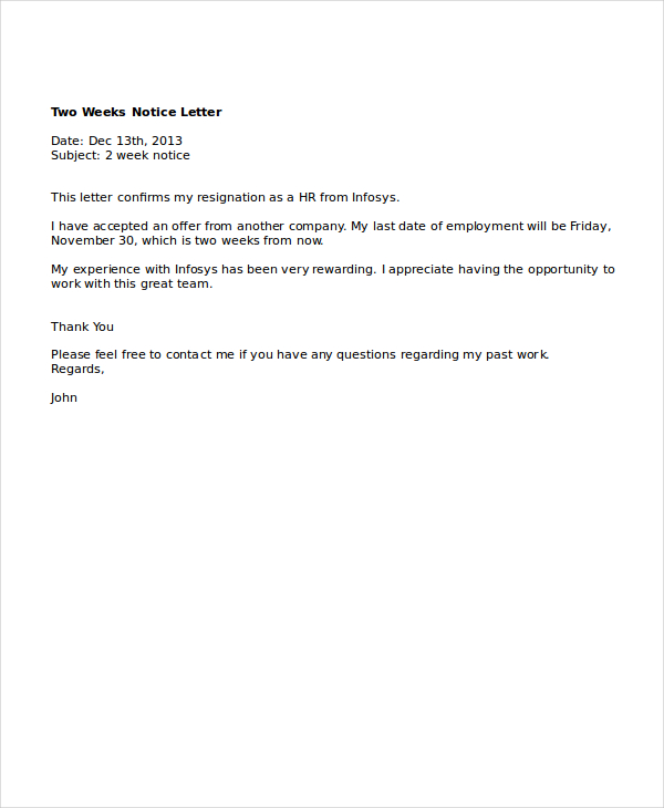 resignation letter 2 week notice two weeks notice letter sample template business 1568