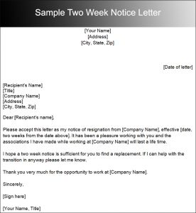 two weeks notice letter sample sample two week notice letter