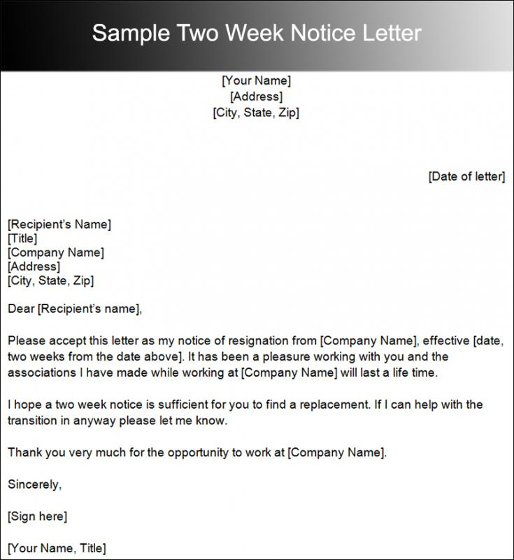 Two Weeks Notice Letter Sample  Template Business