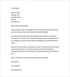 two weeks notice letter sample two weeks notice formal letter