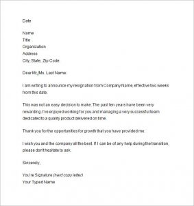 two weeks notice letter sample two weeks notice letter example