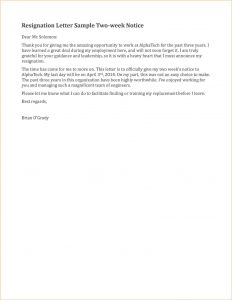 two weeks notice sample weeks notice letter template resignation letter sample two weeks notice