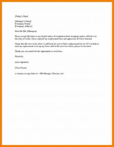 two weeks notice sample resignation letter sample weeks notice two weeks notice letter