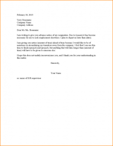 two weeks notice samples month notice resignation resignation letter advance notice