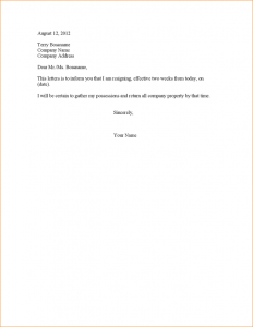 sample notice letter to employer