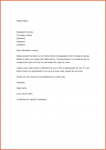 two weeks notice samples two weeks notice resignation letter samples