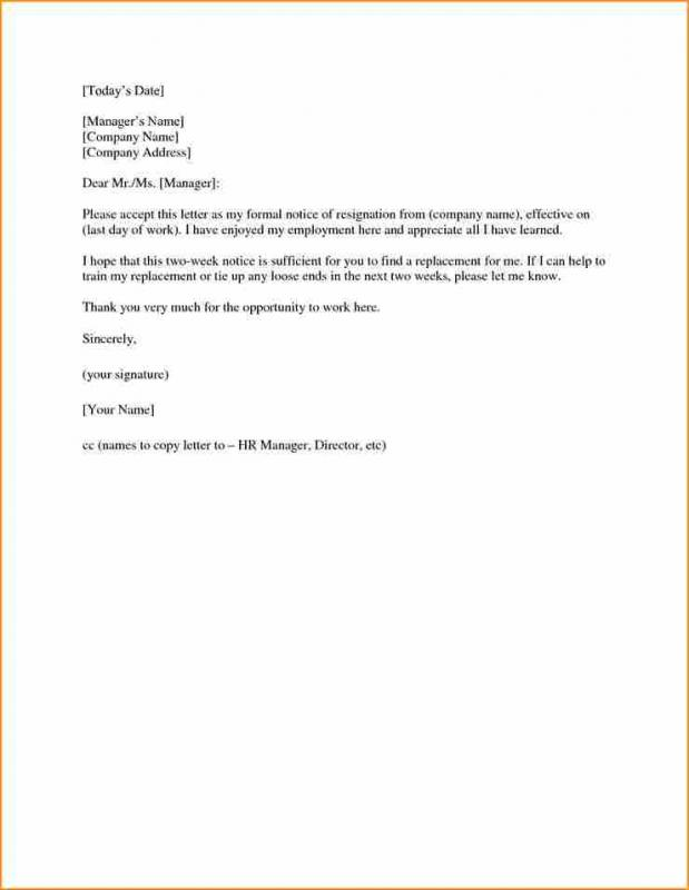 Two Weeks Resignation Letter  Template Business