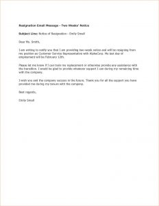 two weeks resignation letter weeks notice template word sample resignation email message weeks notice