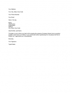 two weeks resignation letter simple resignation letter month notice simple resignation letter