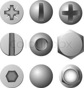 unit circle template vector set of screws bolts and rivets isolated on white background