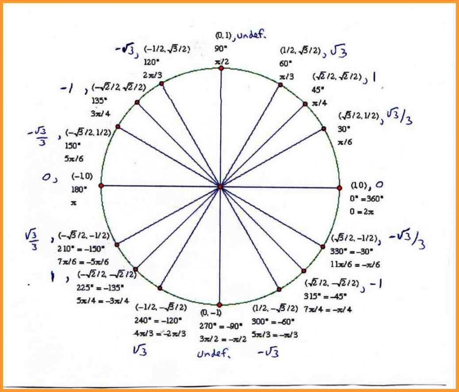 Unit Circle Template  Template Business