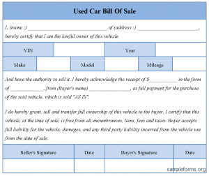 used car bill of sale template used car bill of sale form