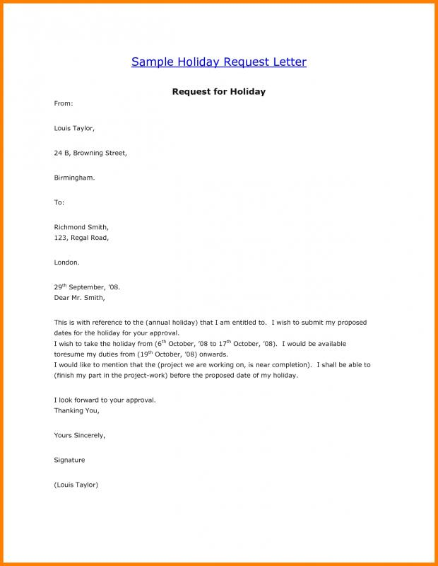 vacation request letter