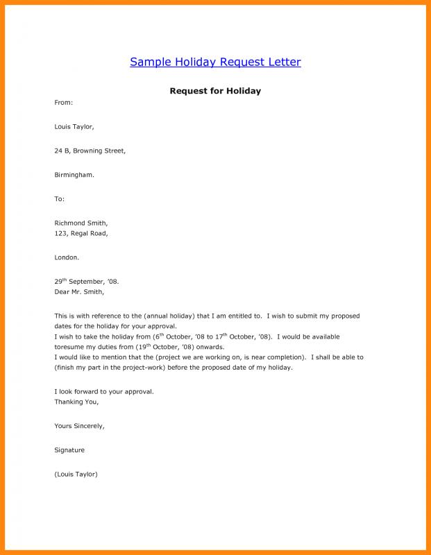 Vacation Request Letter  Template Business