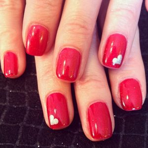 valentine nails design simple red nails with heart