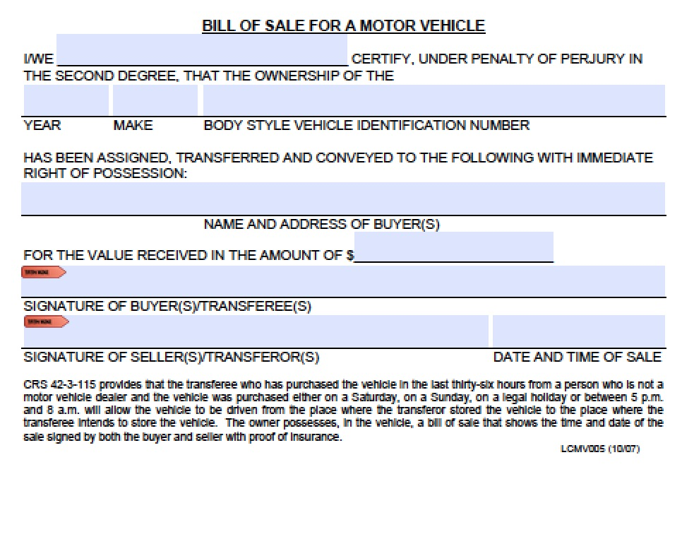vehicle bill of sale template word