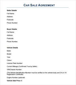 vehicle bill of sale template word sales agreement image
