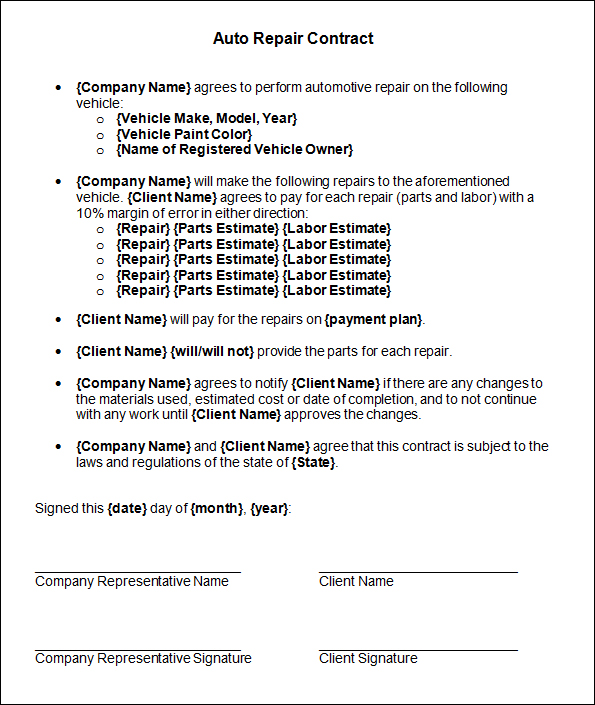 Vehicle Lease Agreement  Template Business