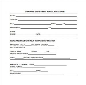 vehicle lease agreement standard short term rental agreement