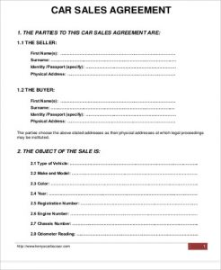 vehicle sale agreement car sale purchase agreement format