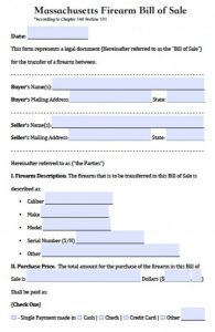 vehicle sale agreement massachusetts firearm bill of sale x