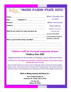 vendor application form pageant entry form