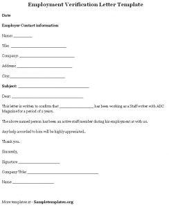 verification of employment employment verification letter template