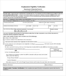 verification of employment form template employment eligibility verification form