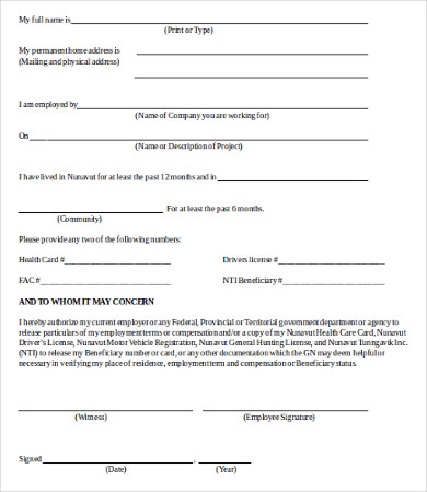 verification of employment form template