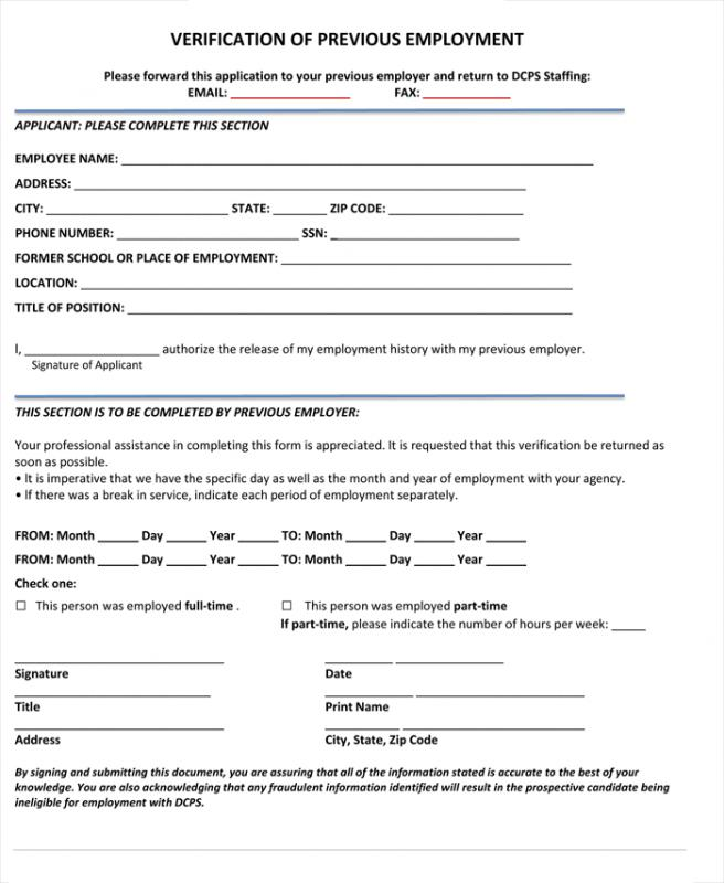 Verification Of Employment Form Template  Template Business