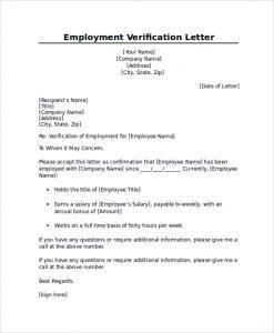 verification of employment professional employment verification letter