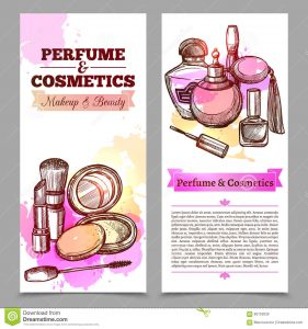 vertical banner design perfume cosmetics vertical banners like advertising booklet text hand drawn elements isolated vector illustration